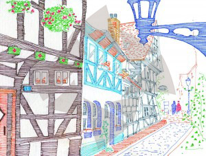 Carte postale d'Hildesheim - vieux quartiers d'Hildesheim