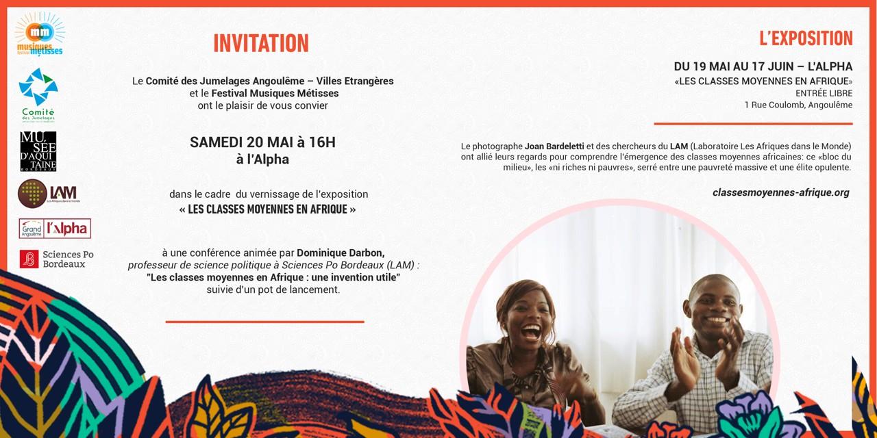 """Exposition """"Les Classes Moyennes en Afriques"""" – 19 mai au 17 juin 2017 à la médiathèque l'Alpha"""