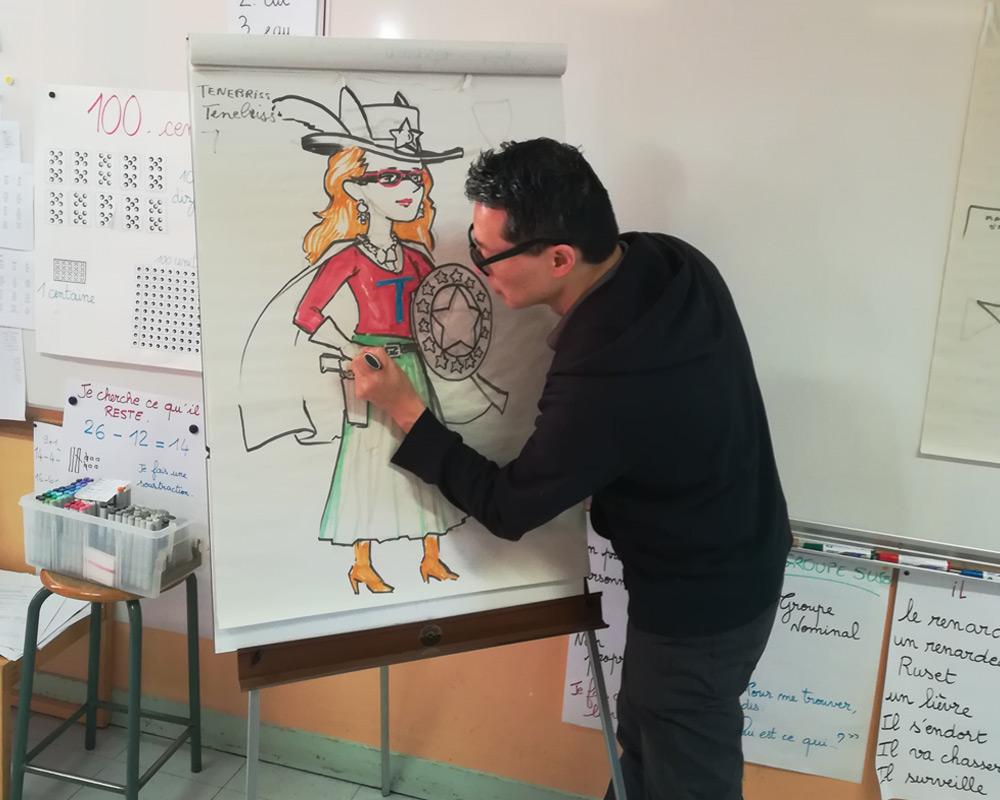 Des ateliers BD dans les écoles avec Gene Ha!
